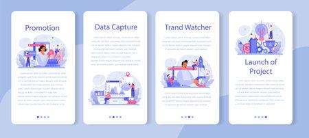 Trend watcher mobile application banner set. Specialist