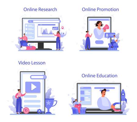 Trend watcher online service or platform set. Specialist