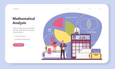 Mathematician web banner or landing page. Mathematician seek 矢量图像
