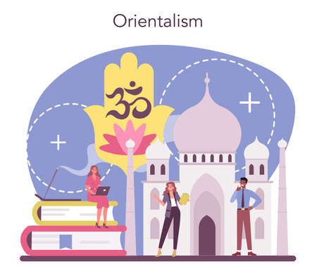 Orientalist concept. Professonal scientist studying near and far