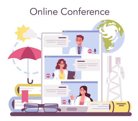 Meteorologist online service or platform. Weather forecaster