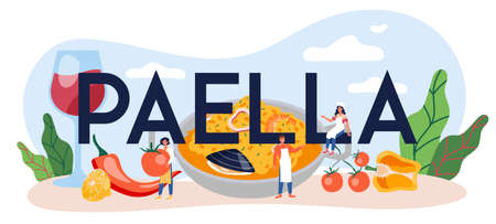 Paella typographic header. Spanish traditional dish with seafood Vektorgrafik