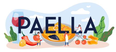 Paella typographic header. Spanish traditional dish with seafood 向量圖像