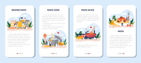 Spaghetti or pasta mobile application banner set. Italian food on the plate.