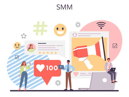 SMM promotion set. Customer attention and business communication