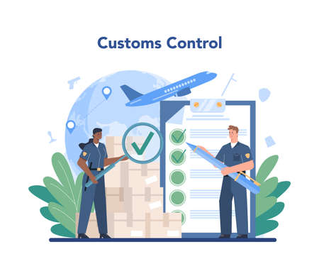 Customs officer concept. Passport control at the airport.