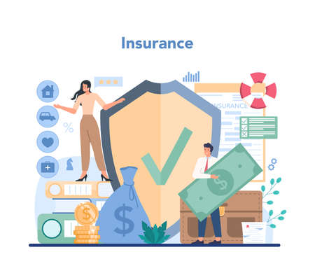 Insurance agent concept. Idea of protection of property and life