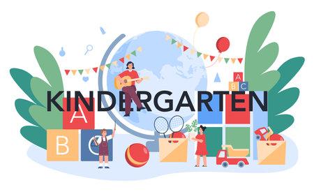 Kindergartener typographic header. Professional nany and children