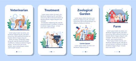 Pet veterinarian mobile application banner set. Veterinary doctor Ilustração