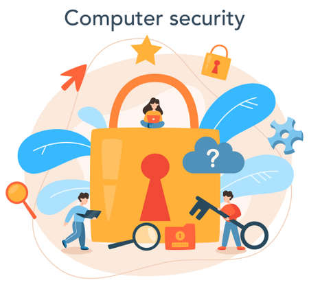 Cyber or web security specialist. Idea of digital data protection