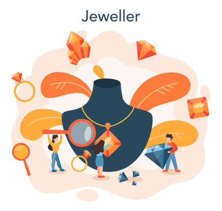 Jeweler and jewelry concept. Idea of creative people and profession 向量圖像