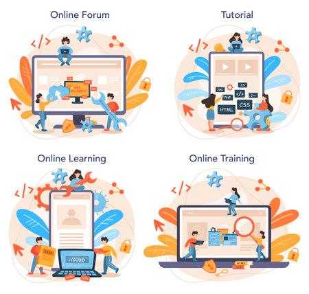 Web programming online service or platform set. Coding, testing
