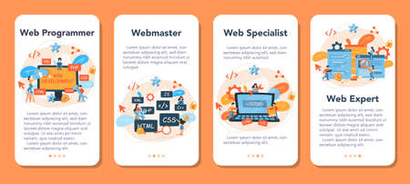 Web programming mobile application banner set. Coding, testing