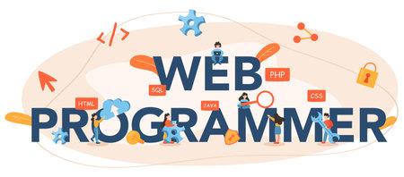 Web programmer typographic header. Coding, testing and writing program  イラスト・ベクター素材