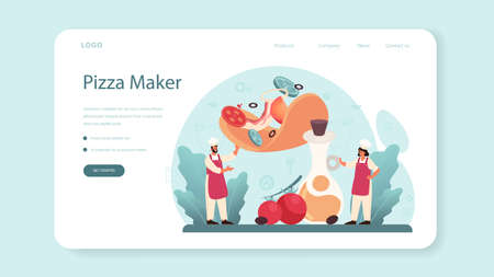 Pizzeria web banner or landing page. Chef cooking tasty