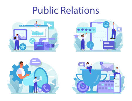 Public relations concept set. Idea of brand advertising, building relationships