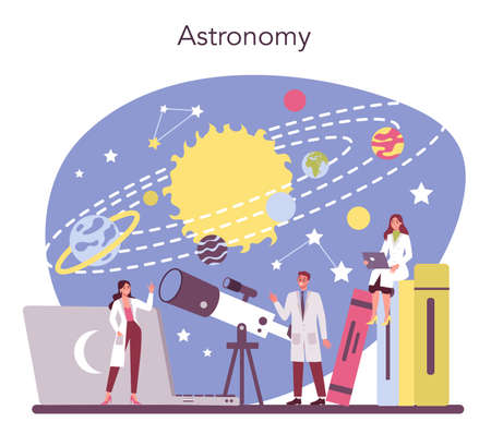 Astronomy and astronomer concept. Professional scientist looking