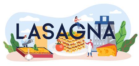 Tasty lasagna typographic header. Italian delicious cuisine Illustration