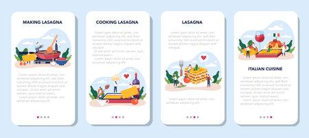 Tasty lasagna mobile application banner set. Italian delicious cuisine