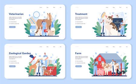 Pet veterinarian web banner or landing page set. Veterinary doctor