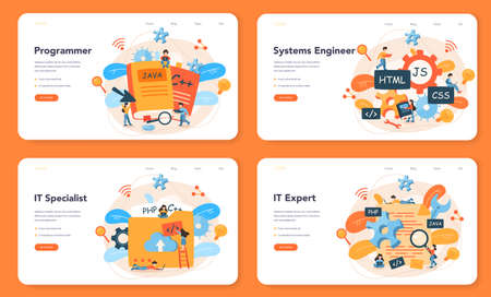 Programming web banner or landing page set. Idea of working Vektorové ilustrace