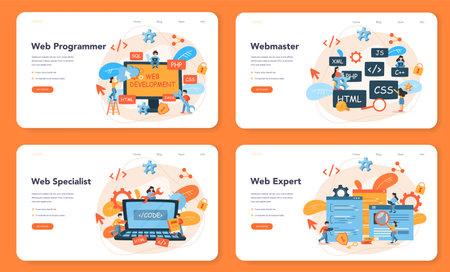 Web programming web banner or landing page set. Coding, testing