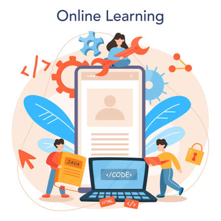 Web programming online service or platform. Coding, testing