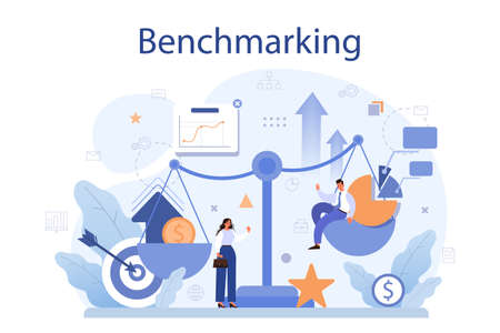 Benchmarking concept. Idea of business development and improvement. Vettoriali