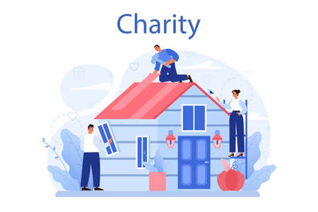 Charity concept. People or volunteer donate stuff to help