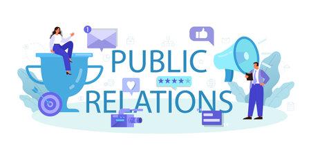 Public relations typographic header. Idea of brand advertising