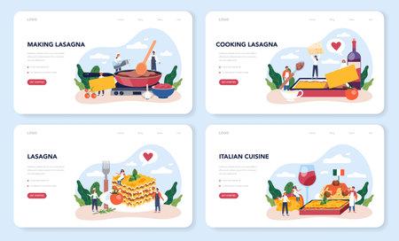Tasty lasagna web banner or landing page set. Italian delicious cuisine Illustration