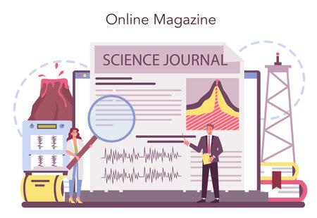Volcanologist online service or platform. Geologist studying