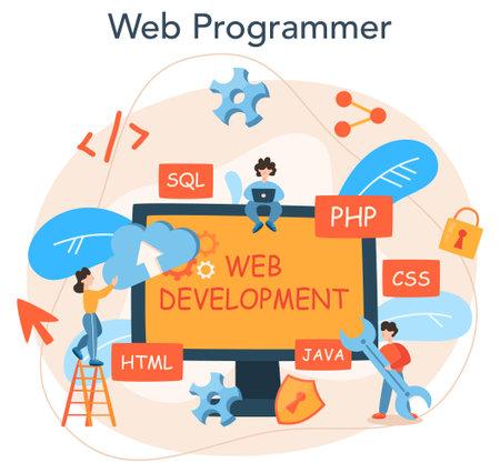 Web programming concept. Coding, testing and writing program