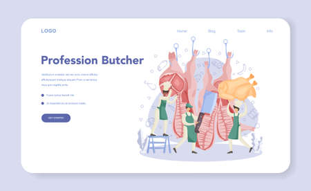 Butcher or meatman web banner or landing page. Fresh meat