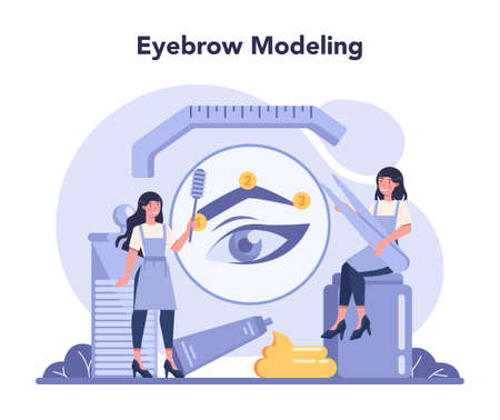 Eyebrow master and designer concept. Master making perfect brow