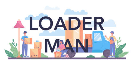 Loader man typographic header. Worker in uniform carrying boxes set.
