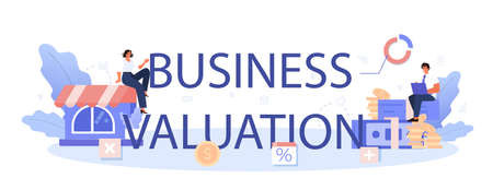 Business valuation typographic header. Appraisal services, selling