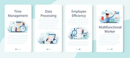 Employee efficiency mobile application banner set. Business staff management
