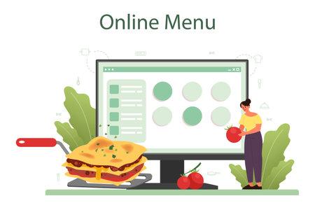 Tasty lasagna online service or platform. Italian delicious cuisine