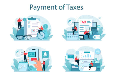 Taxes payment concept set. Idea of business accounting and audit.