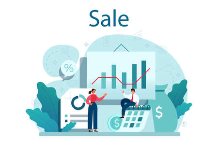 Sale concept. Business planning and development. Sales 向量圖像