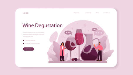 Sommelier web banner or landing page. Specialist with a bottle