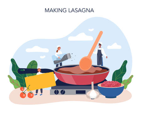 Tasty lasagna. Italian delicious cuisine on the plate. People cooking