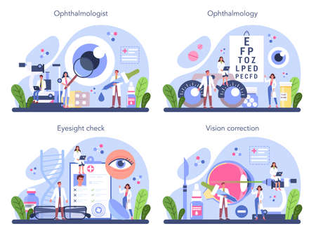 Ophthalmologist concept set. Idea of eyesight check and treatment.