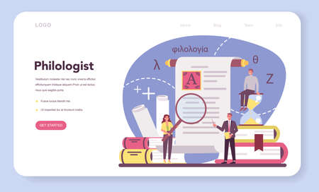 Philologist web banner or landing page. Professional scientist