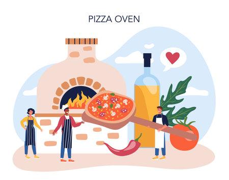 Pizza maker concept. Chef cooking tasty delicious pizza. Ilustración de vector