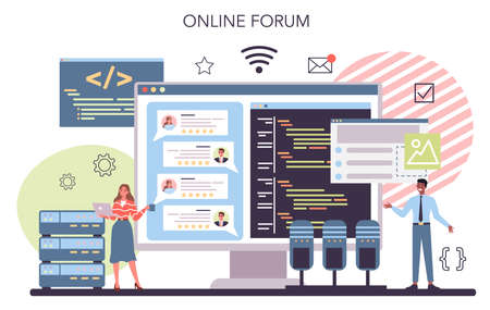 Programming online service or platform. Idea of working