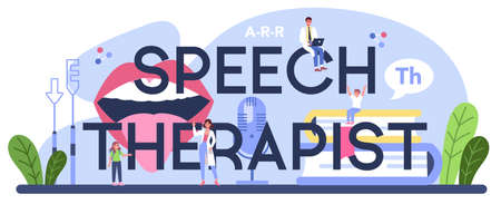 Speech therapist typographic header. Didactic correction and speech