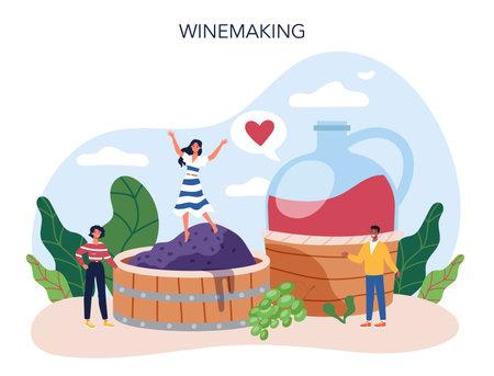 Wine maker concept. Grape wine in a wood barrel, bottle of a red wine 向量圖像