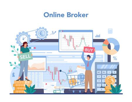 Financial broker online service or platform. Income, investment Illustration